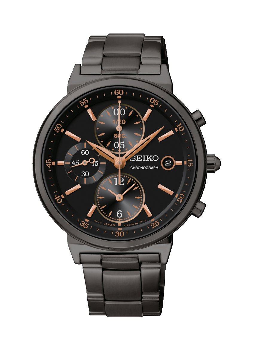 Seiko Chronograph Black Dial Black Ion-plated Ladies Watch SNDW47P1