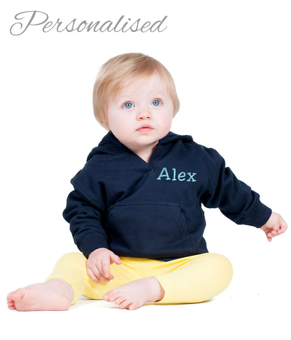 Personalised Embroidered with Name Baby Hoodie, 6mths - 4ys (12-18 mths, Hot Pink) With Congratulations