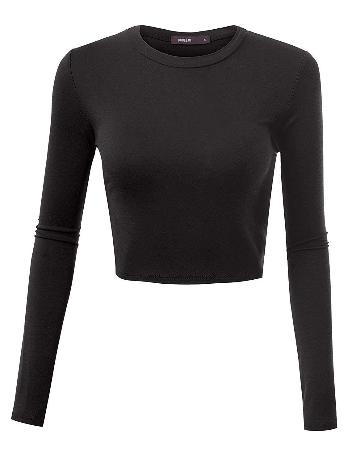 0d490b32baf90 Doublju Basic Long Sleeve Crop Top for Women with Plus Size at Amazon  Women s Clothing store