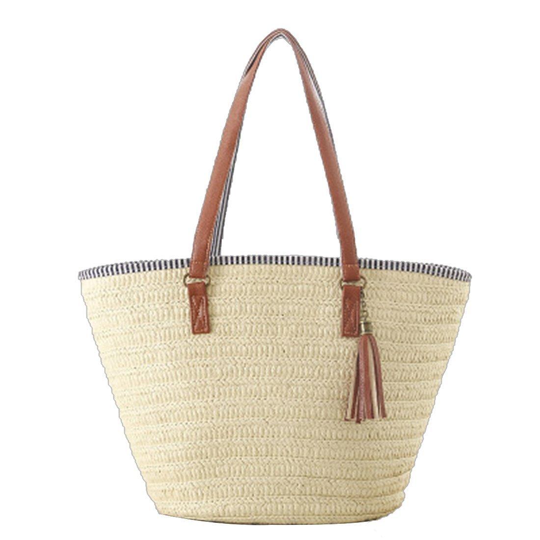 EROUGE Handmade Straw Bag Retro Woven Shoulder Bag Women Tassels Bag Large Hobo Beach Bag (Beige)