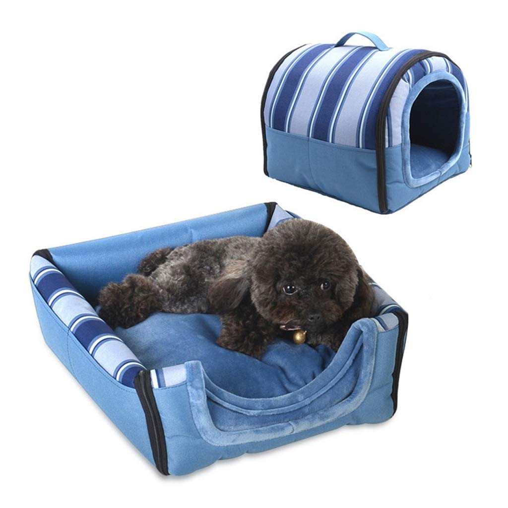 Large WANGXIAOLIN Pet nest, changeable shape, bluee, multi-function, portable, foldable, cat house, deep sleep, four seasons universal, ventilated, pet sofa (2 sizes) (Size   Large)