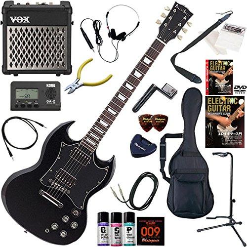 Photogenic エレキギター 初心者 入門 SGタイプ リズム機能とエフェクターを搭載したVOX MINI5RMが入ってる充実20点セット SG-280/BK(ブラック)  BK(ブラック) B00E7396OM