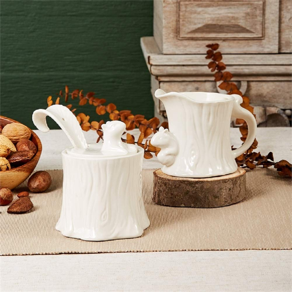 Two's Company Squirrel Sugar Bowl with Serving Spoon and Creamer