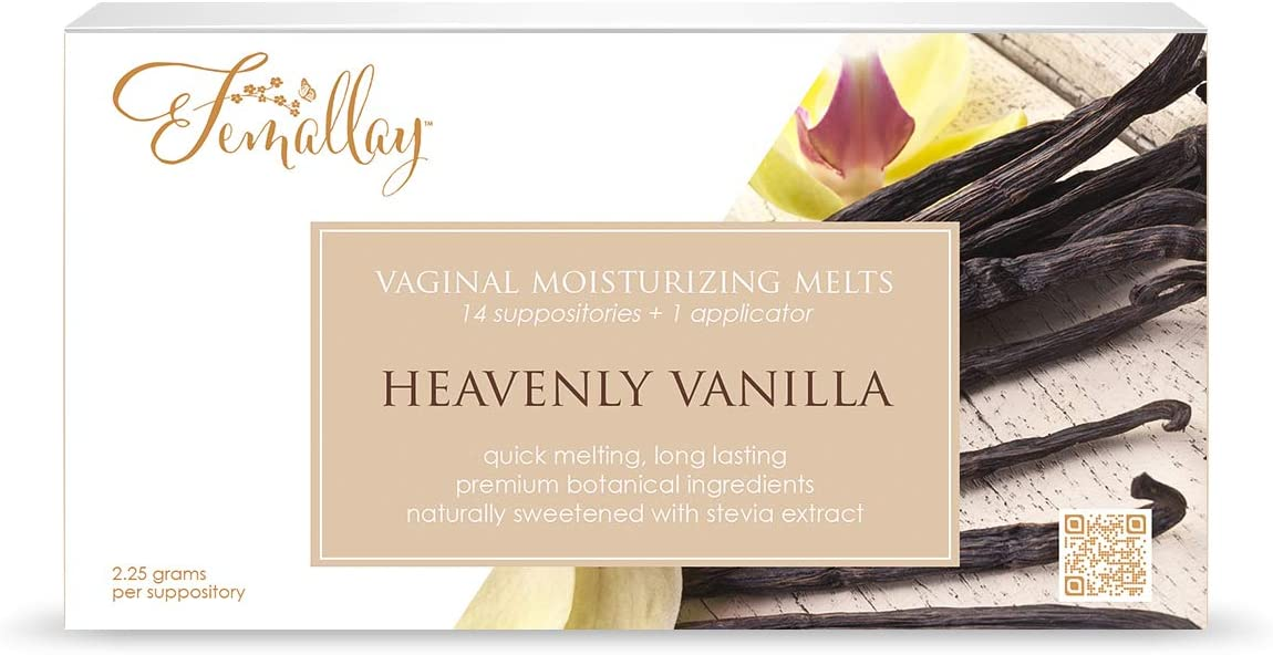 Femallay Organic Heavenly Vanilla Vaginal Moisturizing Suppository Melts – 14 Individually Sealed Suppositories + 1 applicator