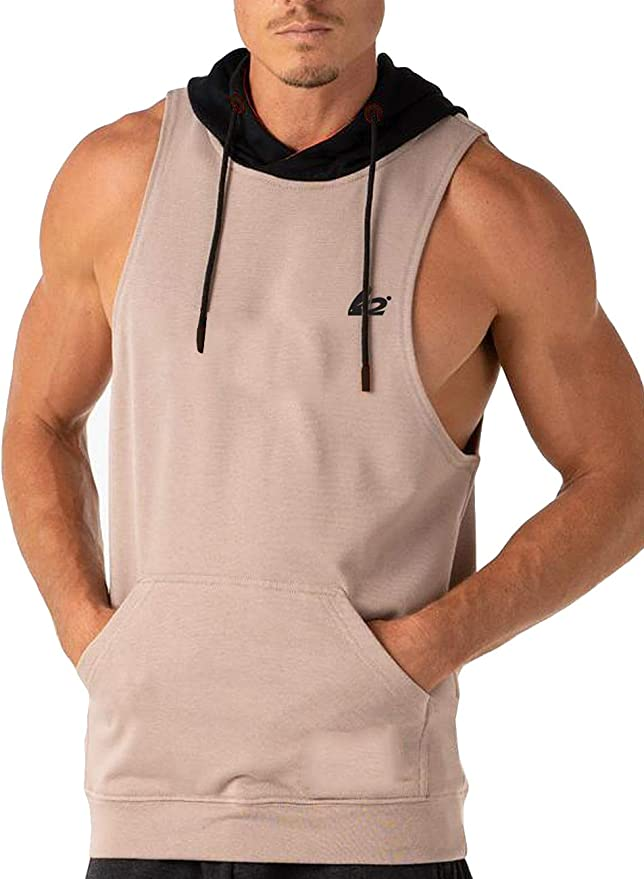 Daupanzees Mens Workout Hooded Tank Tops Sleeveless Gym Hoodies with Kanga Pocket Cool and Muscle Cut