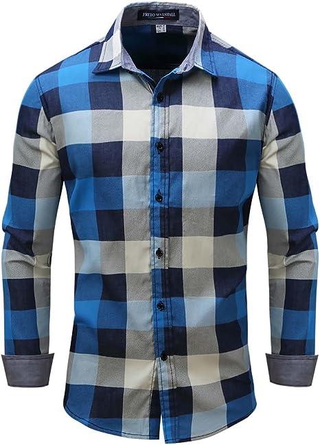 Mena UK Manga Larga Vaquero Camisa Camisa A Cuadros Delgado Fit Hombre (Color : Azul, Tamaño : XXL): Amazon.es: Deportes y aire libre