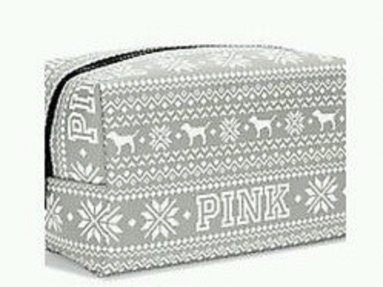 amazon com victoria u0027s secret pink grey fairisle makeup bag