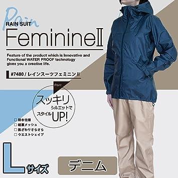6c2a4402c2fc0c Amazon.co.jp: カジメイク レインスーツフェミニン2 デニム L 7480 ...