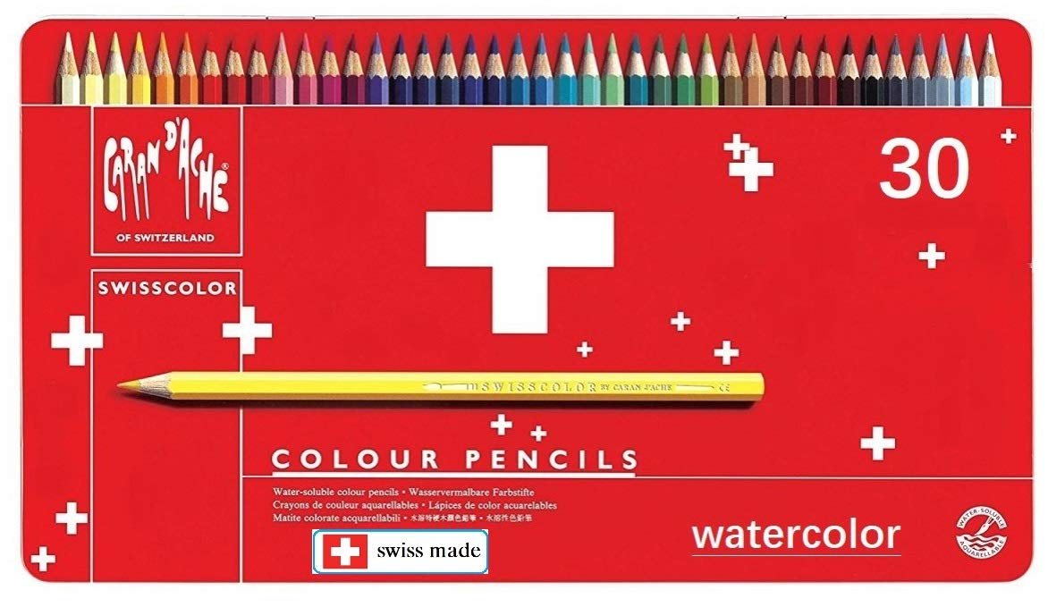 Caran Dache 30 unidades, caja met/álica Juego de l/ápices de color l/ápices de acuarela surtidos de colores