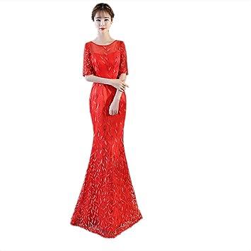 JKJHAH Vestidos De Novia Vestidos De Cola De Pez Vestidos Rojos, Rojo, S