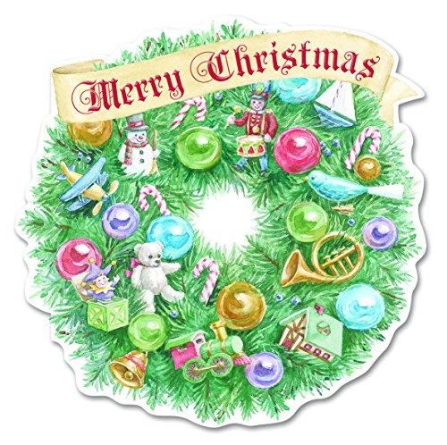 Carol Wilson Fine Arts Inc.- Embossed & Die Cut- Christmas Wreath - Christmas Cards- Boxed - 10 count- crgbx189