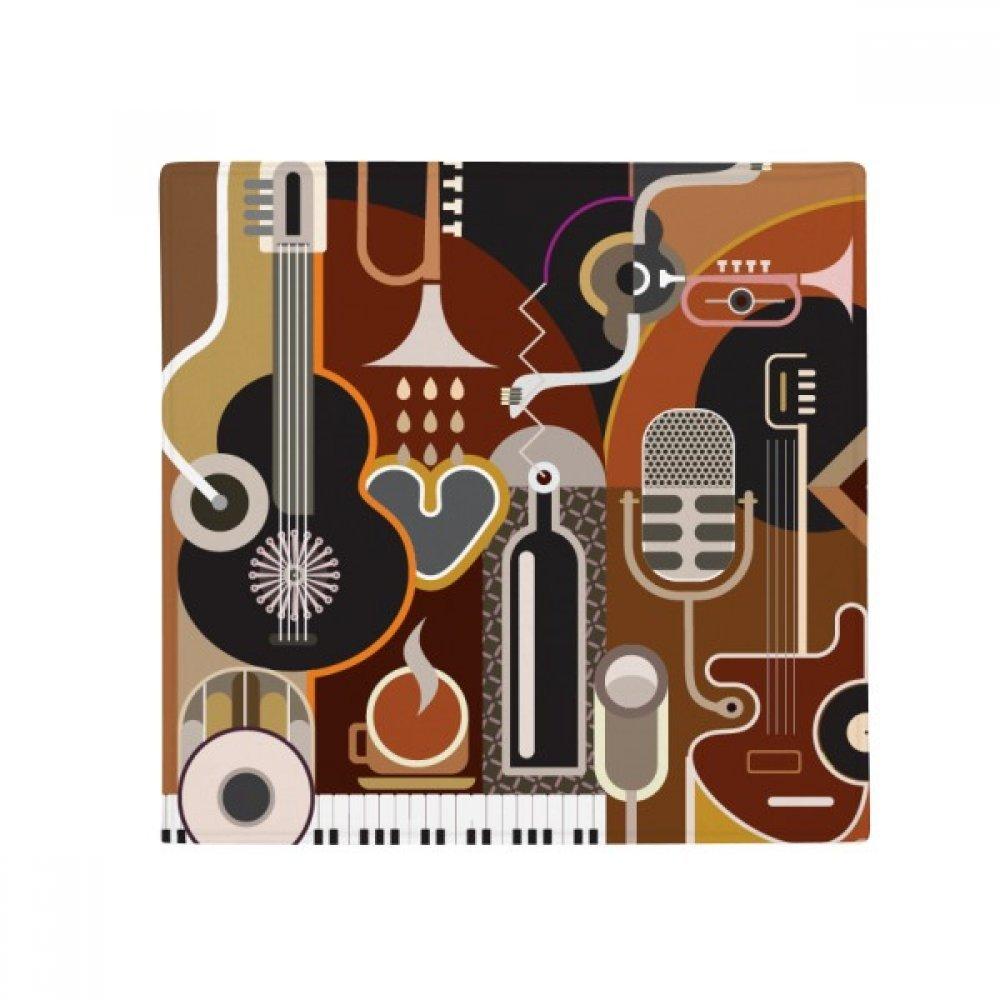 DIYthinker Guitar Music Illustrate Abstract bluee Pattern Anti-Slip Floor Pet Mat Square Home Kitchen Door 80Cm Gift