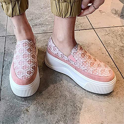 Plataforma Zapatos Plana Mujeres Gamuza Mocasines Casual De Creepers Rosado Cómodos Rosa Primavera Slip Damas on Verano Negro qx440p8wB