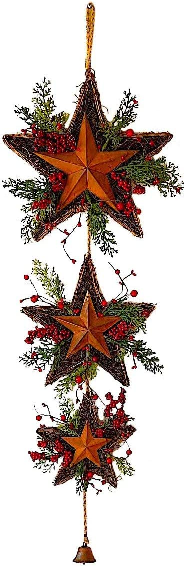 "3 Star Wreath Christmas Holiday Decoration Twigs Red Berries Rustic Metal W Jingle Bell Wall Door Decor (39"" x 13"")"