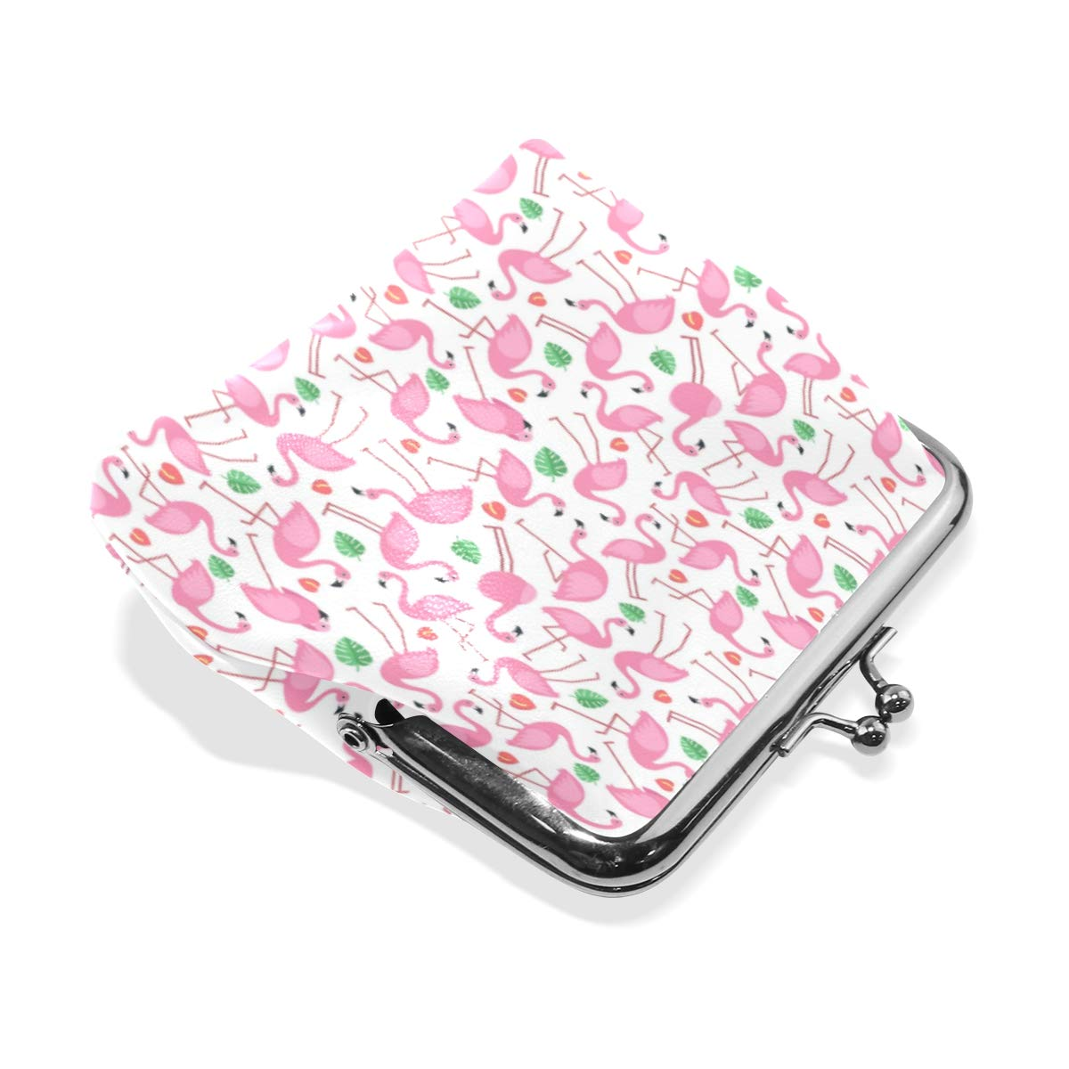 Exquisite Buckle Coin Purses Pattern With Pictures Of Pink Flamingo Mini Wallet Key Card Holder Purse for Women