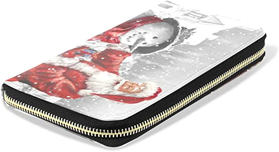 Santa Claus Gifts Snowman Leather Passport Holder Cover Case Blocking Travel Wallet