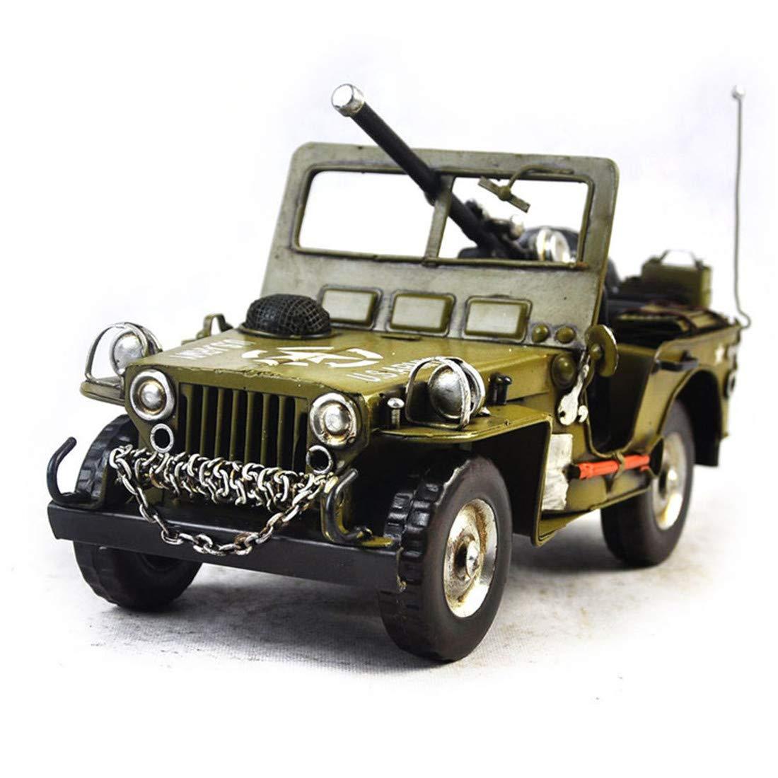 Vjukub Fatto A Mano Retrò Retro 1940 Fuoristrada Jeep Modello Iron Art Casa Auto Decorazione Decorazione Disposizione Fotografia Puntelli 31 * 14 * 15Cm