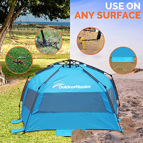 OutdoorMaster Pop Up Beach Tent - Easy to Set Up Portable Sun Shade for Kids u0026 Family & Pop Up Beach Tent - Easy to Set Up Portable Sun Shade for Kids ...