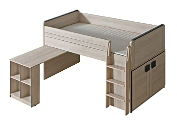 Funktionsbett / Kinderbett / Hochbett   Kombination Mit Bettkasten Und  Schreibtisch Elias 15, Farbe: