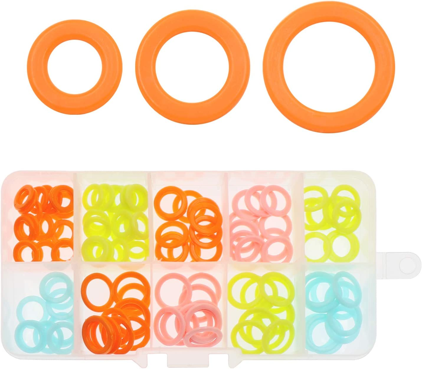 130 Pcs Knit Knitting Stitch Markers Rings 3 Sizes Assorted Color