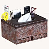 Multifunctional Tissue Box Holder with Drawer, 3 Slots,PU Leather cover for pencil remote control iphone holders and Home Desk Organizer (Vintage)
