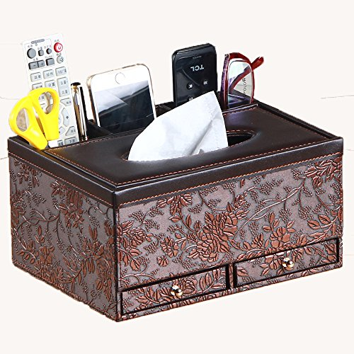 Multifunctional Tissue Box Holder with Drawer, 3 Slots PU Leather cover for pencil remote control iphone holders and Home Desk Organizer (Vintage) by Multifunction Tissue Holders