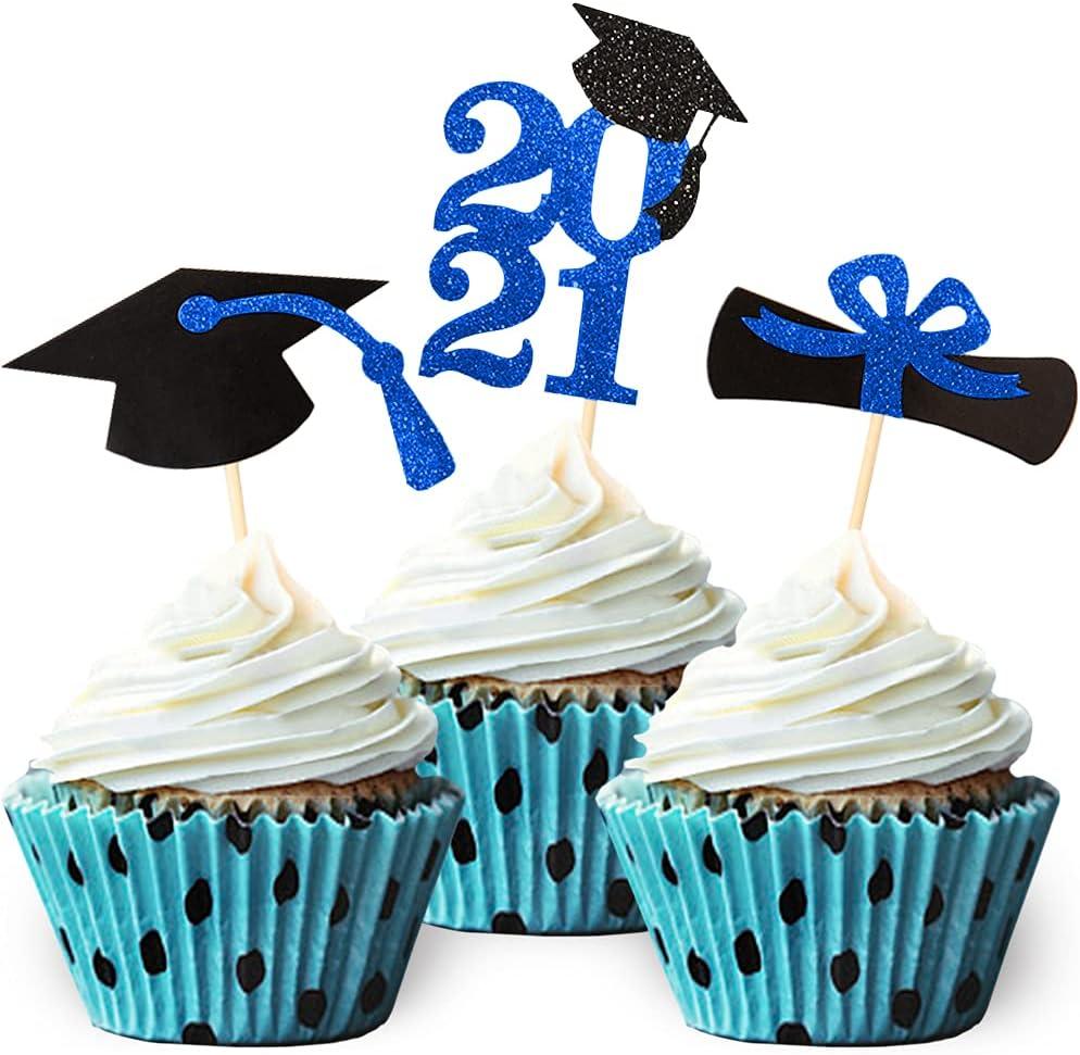Class of 2021 Blue Glitter Graduation Cupcake Topper, Food/Appetizer Picks for Graduation Party (24pcs)