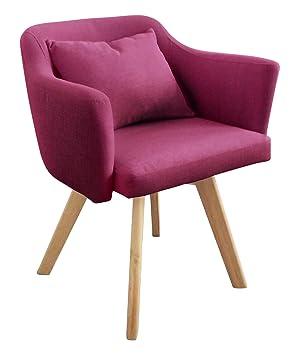 Menzzo Scandinave Dantes Chaise Fauteuil Tissu Violet 58 X 70 Cm