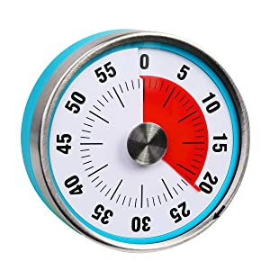 """3.07"""" 60 Minute Round Visual Analog Timer Countdown Clock for Kitchen Classroom Meeting Kids Adults (Blue Color)"""