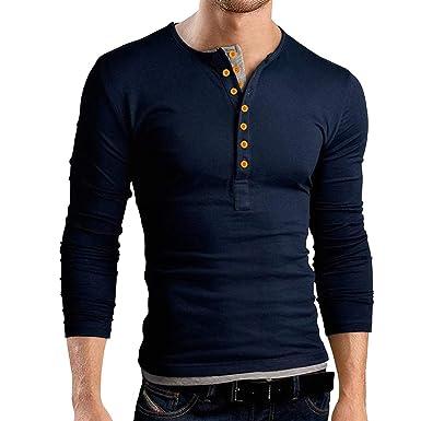 4b46f7f44 Pishon Men s Henley Shirt Long Sleeve Slim Fit Plain Button Cotton Casual  Shirts