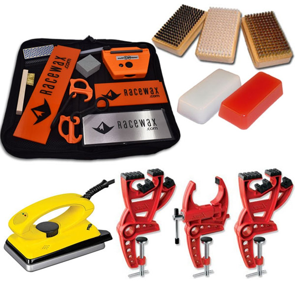 Ski Tune+ Race Kit with 3 Piece Vise, Iron, 3 Brushes Tools Wax by RaceWax