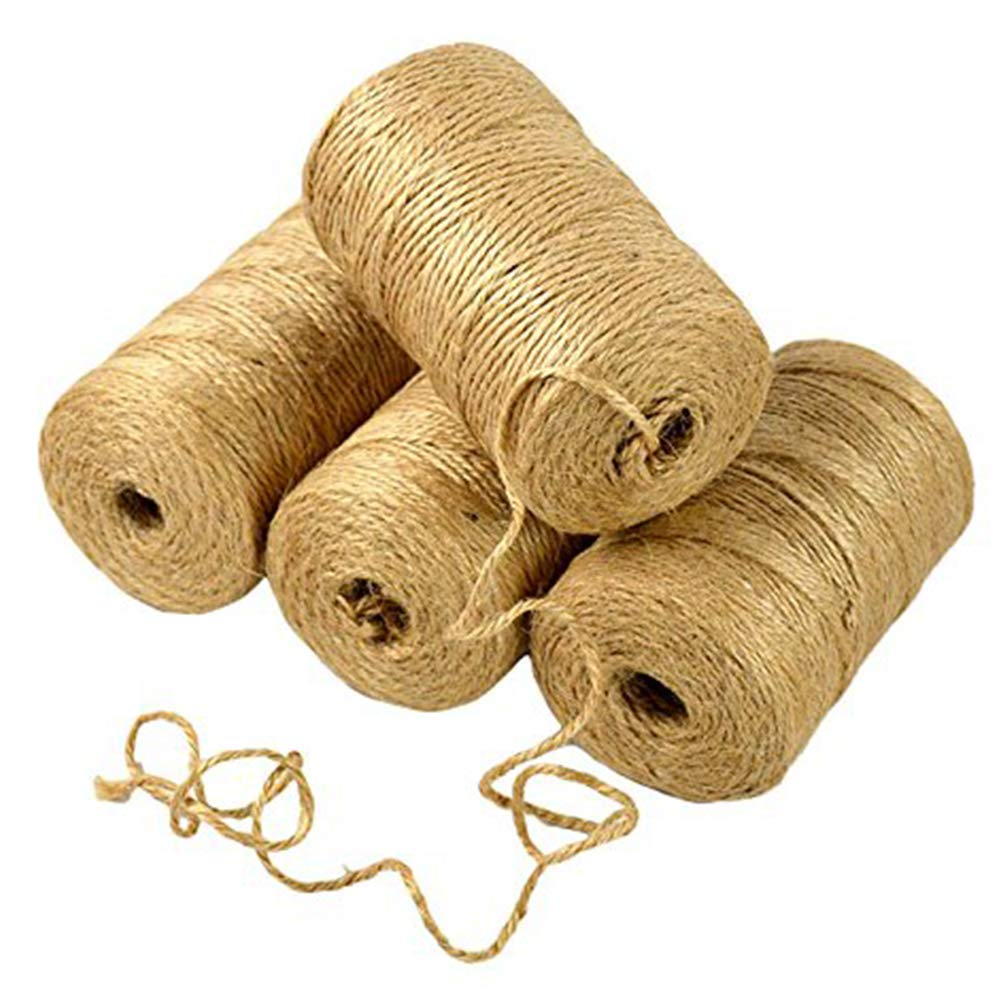 Art Shows 4Pcs(1312 Foot) Natural Jute Twine,Arts and Crafts Jute Rope Industrial Packing Materials Packing String for Gifts,DIY Crafts, Decoration, Bundling, Gardening and Recycling by Art Shows