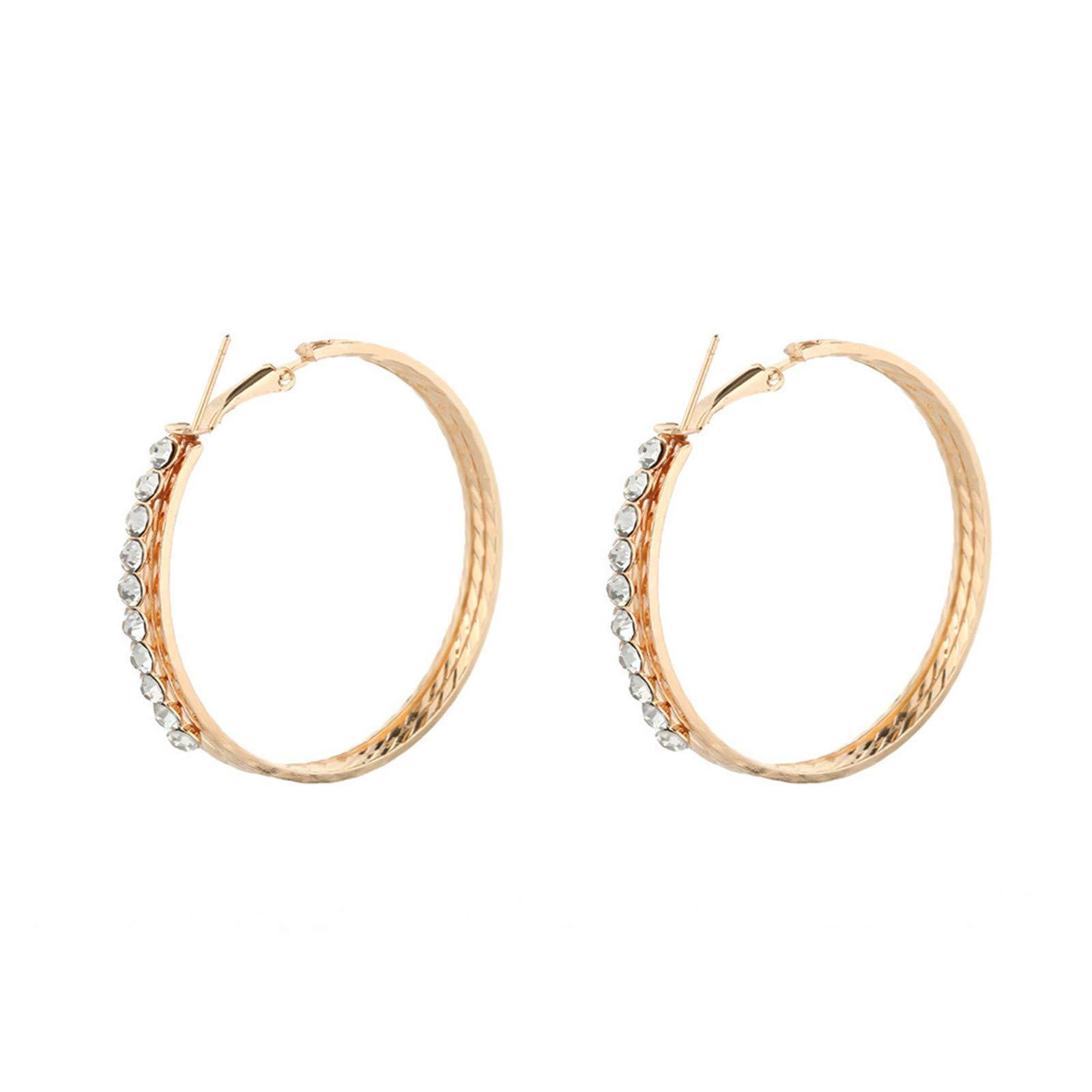 BOOBODA Fashion Crystal Rounded Rhinestone Ear Clip Jewelry Ear Stud Diamond Earrings for Women/Girls(Gold)