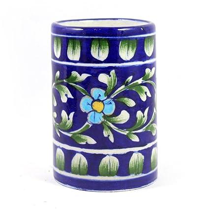 Hecho a mano decorativo de cerámica baño cepillo de dientes soporte, soporte de escritorio papelería