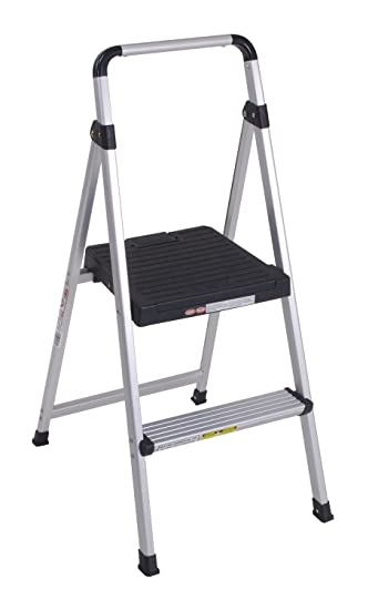 2 step ladder aluminium rolling with handrail costco lite solutions aluminum frame gray