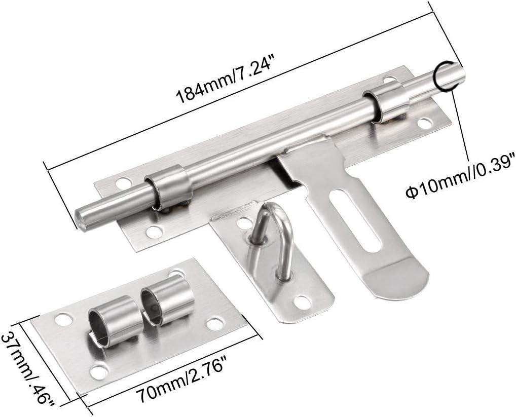 Cerrojo para puerta corredera de acero inoxidable con agujero para candado 20,3 cm Sourcingmap