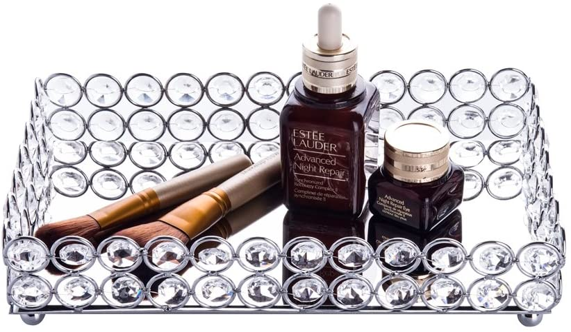 Feyarl Crystal Cosmetic Tray Rectangle Vanity Tray Jewelry Trinket Organizer Tray Mirrored Decorative Tray Christmas (Silver)