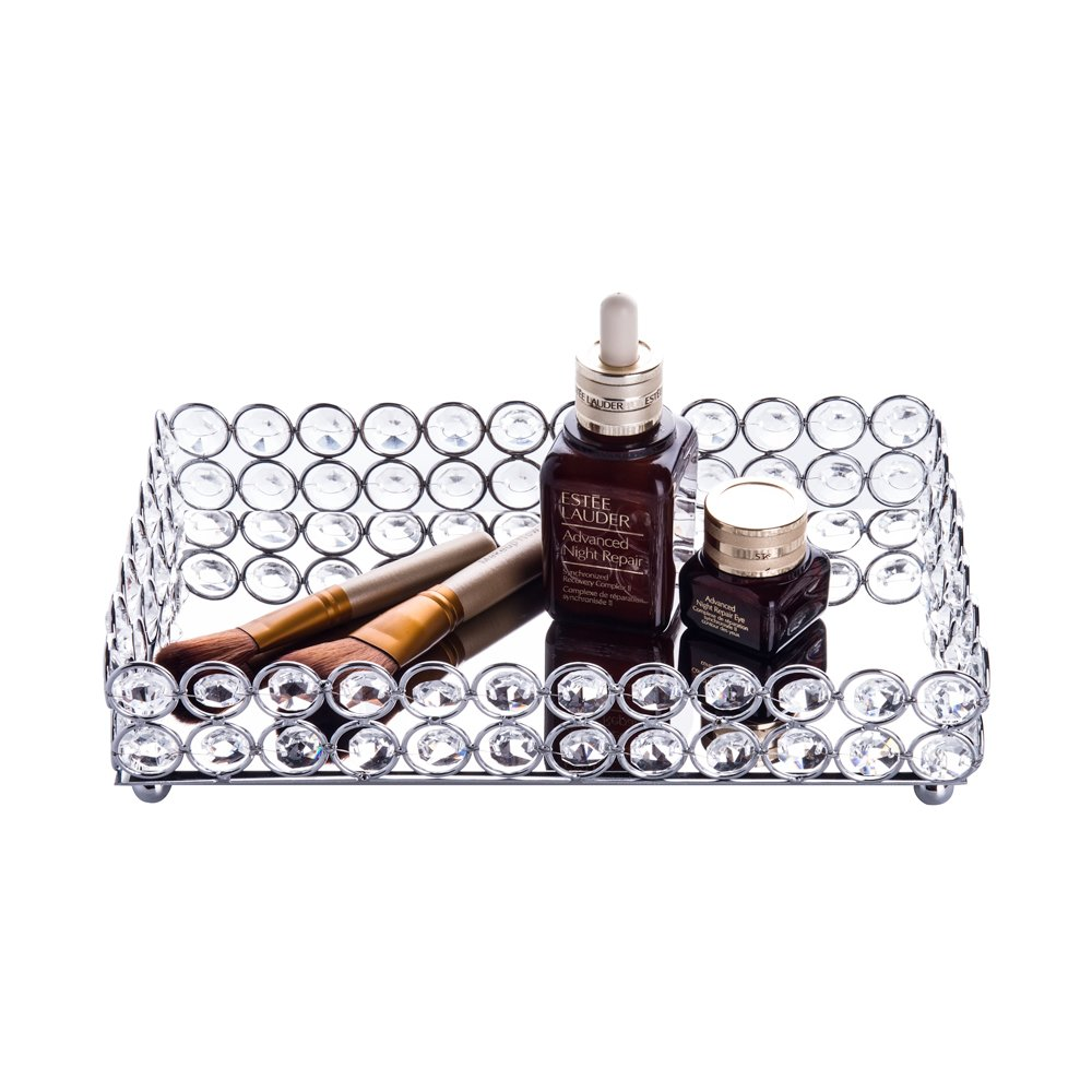 Feyarl Crystal Beads Cosmetic Round Tray Jewelry Organizer Tray Mirror Finished Decorative Tray (Silver) F0056