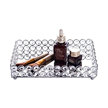 Feyarl Crystal Cosmetic Tray Rectangle Vanity Tray Jewelry Trinket Organizer Tray Mirrored Decorative Tray Christmas (