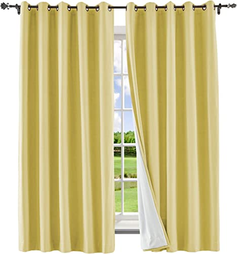 Macochico Extra Long Room Darkening Curtains Bronze Grommet with Blackout Lining for Living Room Sliding Door Indoor Thermal Insulated Drapes 100W x 102L,Banana Yellow 1 Panel