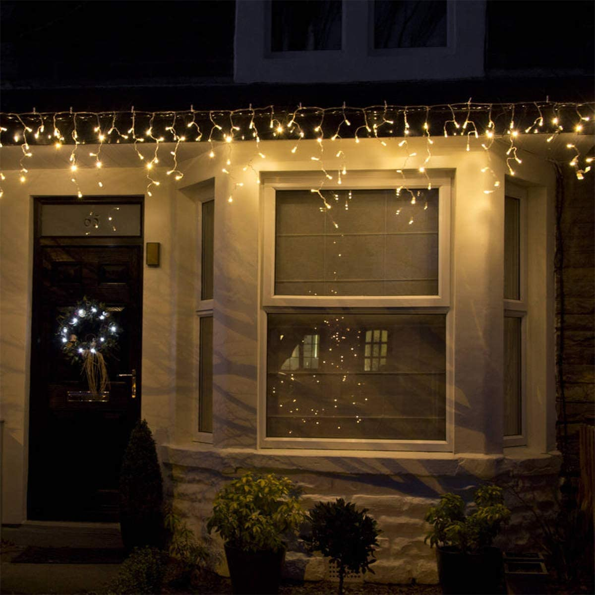 TORCHSTAR 16.4ft LED Starry Long Drop Icicle Lights with 216 LEDs, 8 Work Modes Fairy Lights, Warm White