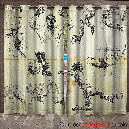 WilliamsDecor Soccer Home Patio Outdoor Curtain Collection of Different Soccer Player and Goalkeeper Theme Sketch Art W96 x L108(245cm x 274cm) (Keeper Soccer Control)