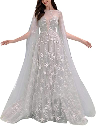 Amazon Com Misyaa Wedding Dresses For Women Glitter Stars Print Organza Maxi Dress Bandeau Slim Fit Dreamy Cocktail Party Sexy Garments Clothing