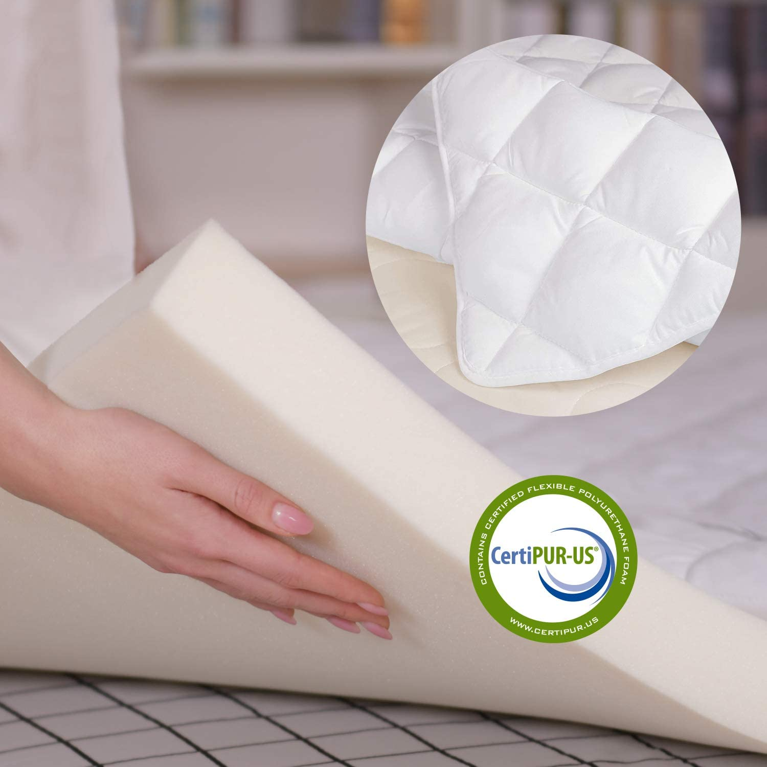Smile Back Memory Foam Mattress Topper, 2-Inch Mattress Topper Queen with Extra Quilted Microfiber Mattress Pad, CertiPUR-US Certified-Queen Size