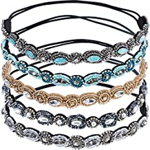 Mudder 5 Pieces Rhinestone Beaded Elastic Headband Handmade Hair Bands Woman Hair Accessories