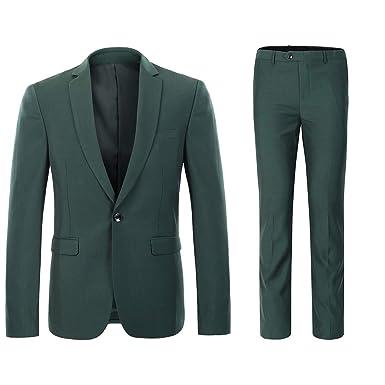 7d36fb9d81 YFFUSHI Mens One Button Formal 2 Piece Suits Slim Fit Multi-Color Wedding  Tuxedo Dark