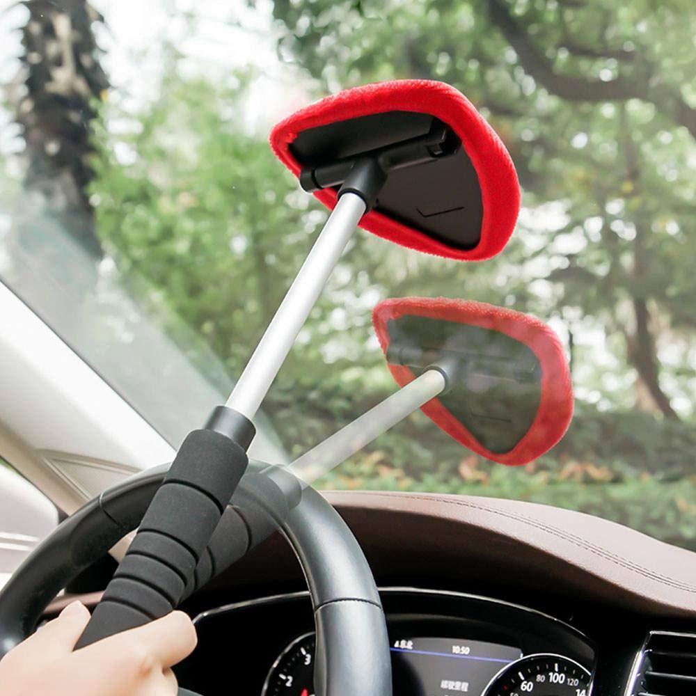 Nero Hamhaw Auto Parabrezza Cleaner Parabrezza Pulitore con Manico Lunga Spazzola Antipolvere per Pulizia Auto in Microfibra Rosso