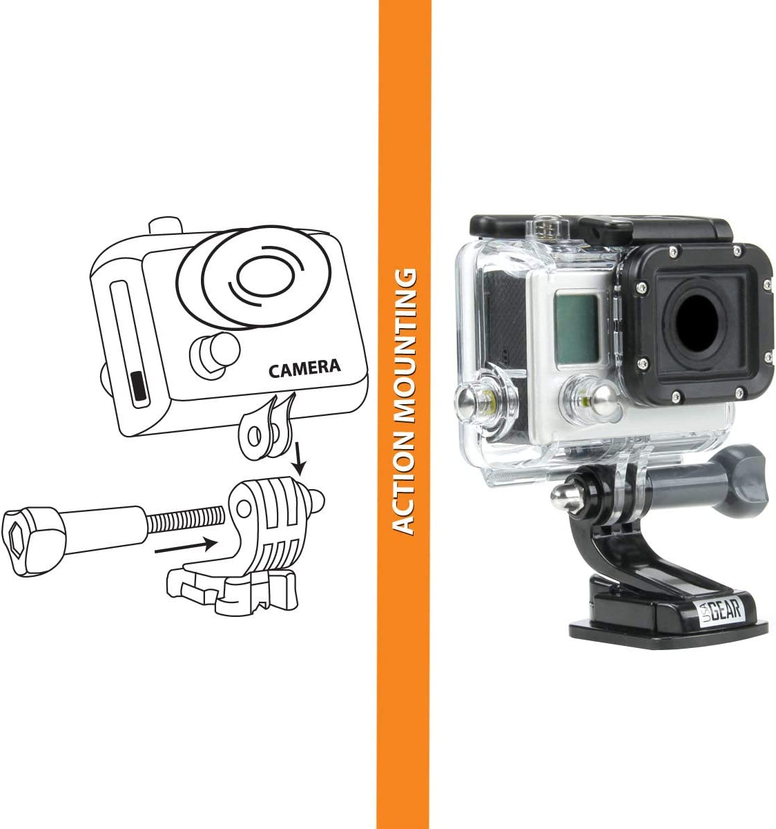 AKASO EK7000 /& More HERO5 Black//Session YI 4K Compatible with HERO6 Black USA Gear Waterproof Adhesive Action Camera Mount w//Industrial Hold Base; Included J Hook and Tripod Screw Adapter