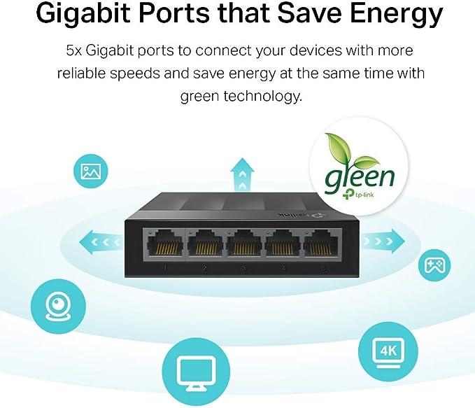 Caja de pl/ástico TP-Link Interruptor LS1005G de 5 Puertos de Escritorio//Montaje en Pared Gigabit Ethernet