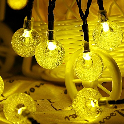 easyDecor Solar Powered String Lights 30 LED 21ft 8 Mode Bubble Crystal Ball Christmas Fairy String Lights for Xmas Trees, Outdoor,Landscape, Garden, Patio, Home, Path, Party Decoration (Warm White)